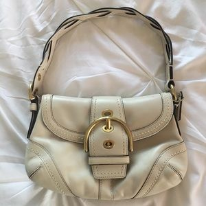 Cream Color Coach Purse with Buckle